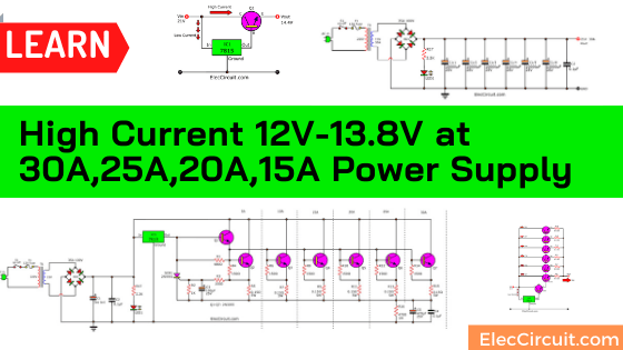 High Current 12V-13.8V at 30A,25A,20A,15A Power Supply