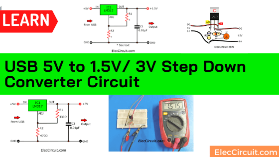 USB 5V to 1.5V/ 3V Step Down Converter Circuit