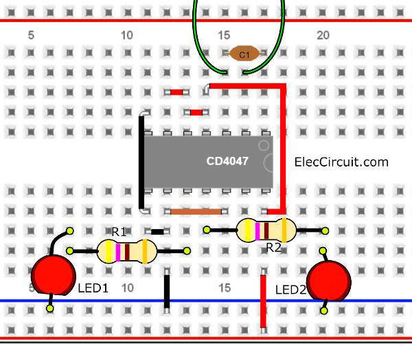 Breadboard Layout of blinking LEDs