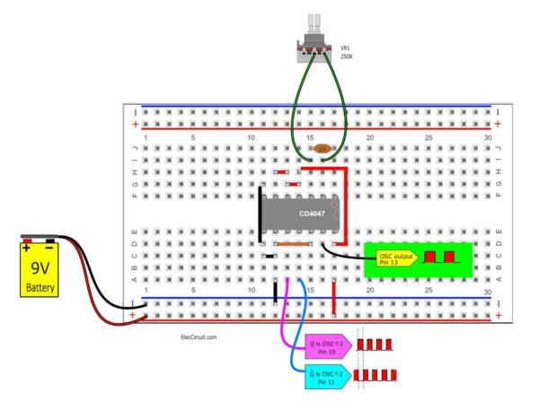 component layout breadboard of basic CD4047 oscillator circuit