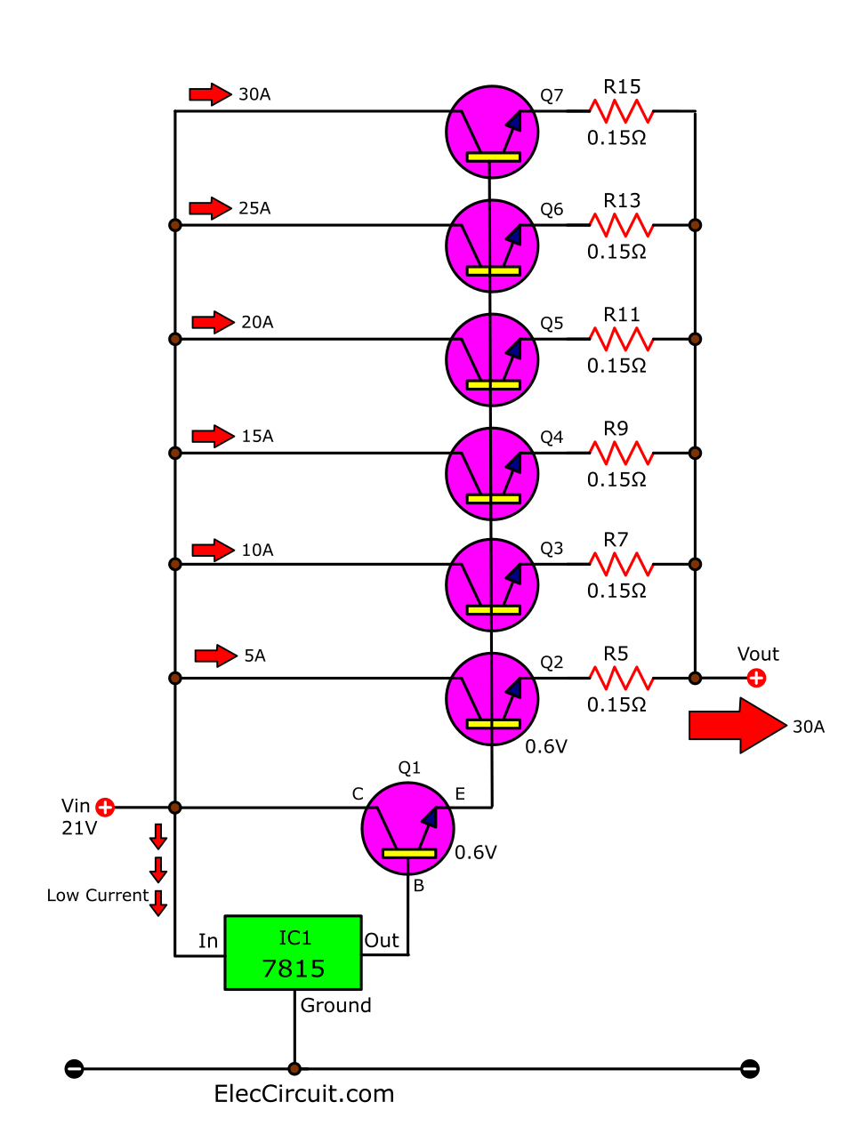 Connects transistor in parallel boost current upto 30A