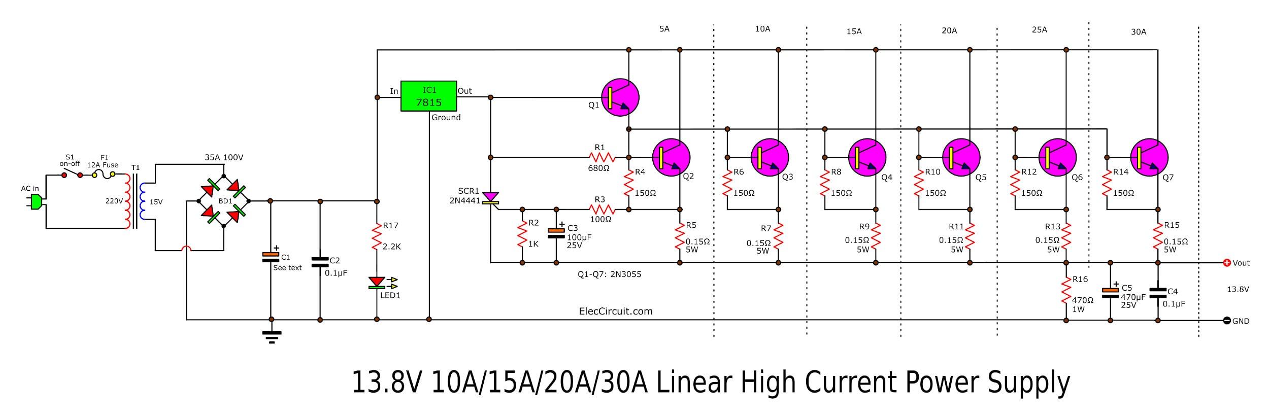 high current 13.8v 30a 25a 20a 15a power supply