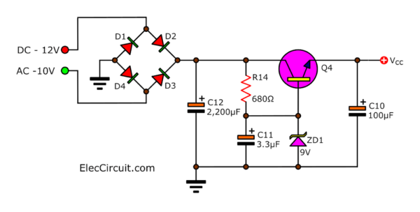 Power supply of small preamplifier