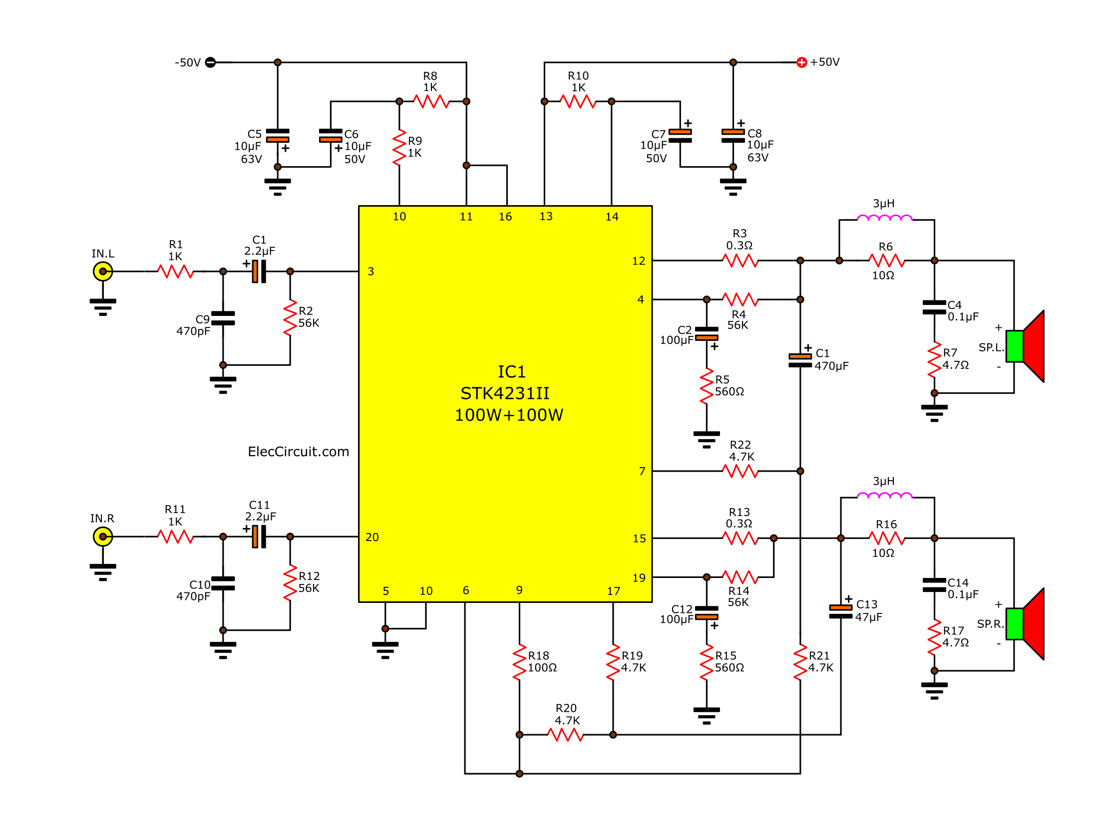 2 channel 100w stereo audio amplifier circuit by stk4231ii, Wiring circuit