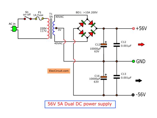 56V 5A DC dual Power supply circuit