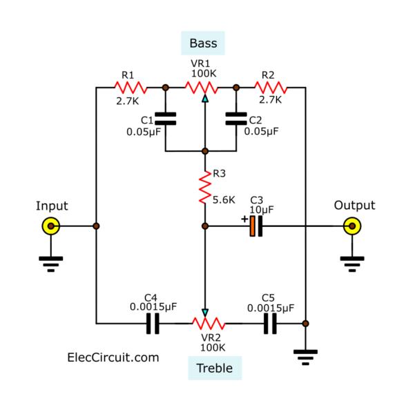 Bass-Treble passive tone control circuit different value