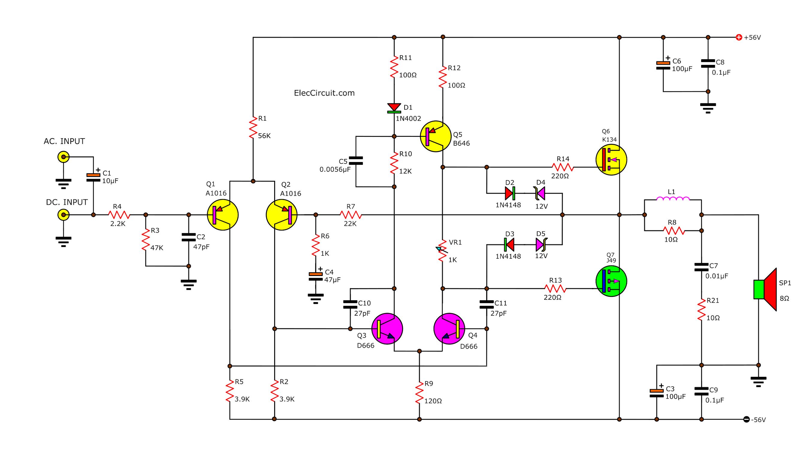 circuit diagram 100W DC servo mosfet amplifier