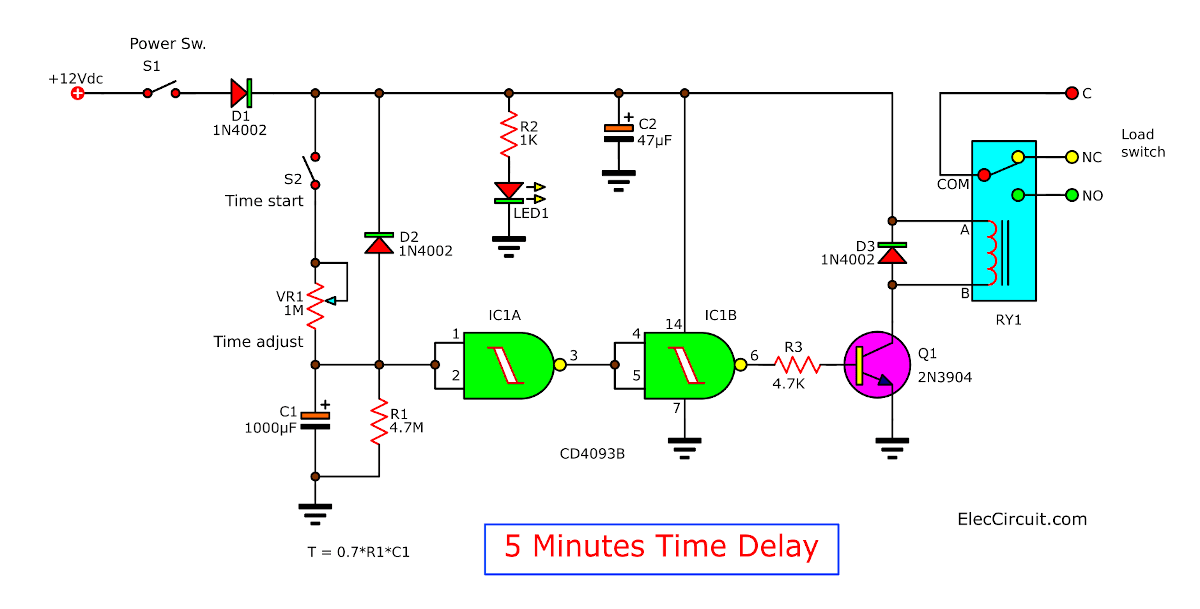 5 minute time delay circuit using CD4093