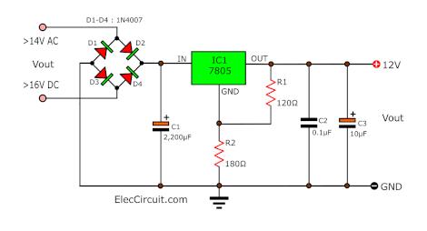 1 amp 12V Power Supply Circuit 7805