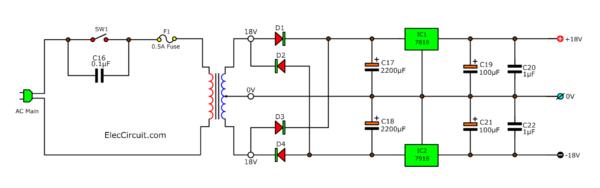 18V Dual Regulator circuit diagram using IC7818 and IC7918