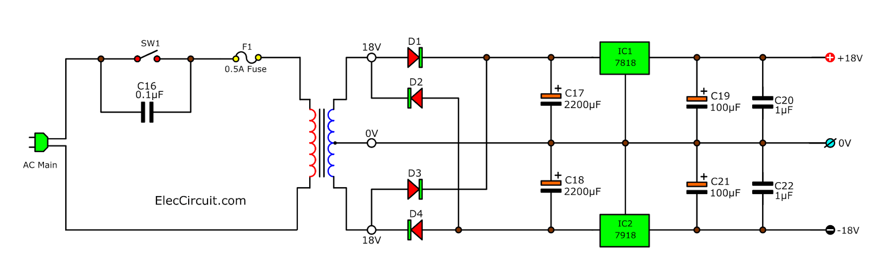 18V Dual Regulator using 7818 & 7918