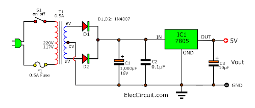 5V 1A Power supply using 7805 full wave Diode