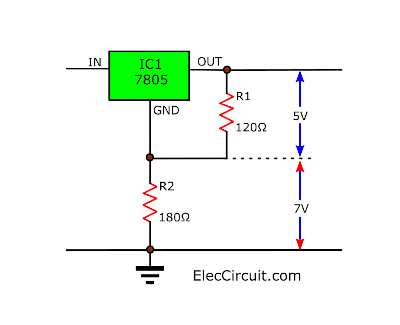 output voltage determined by the divider resistors