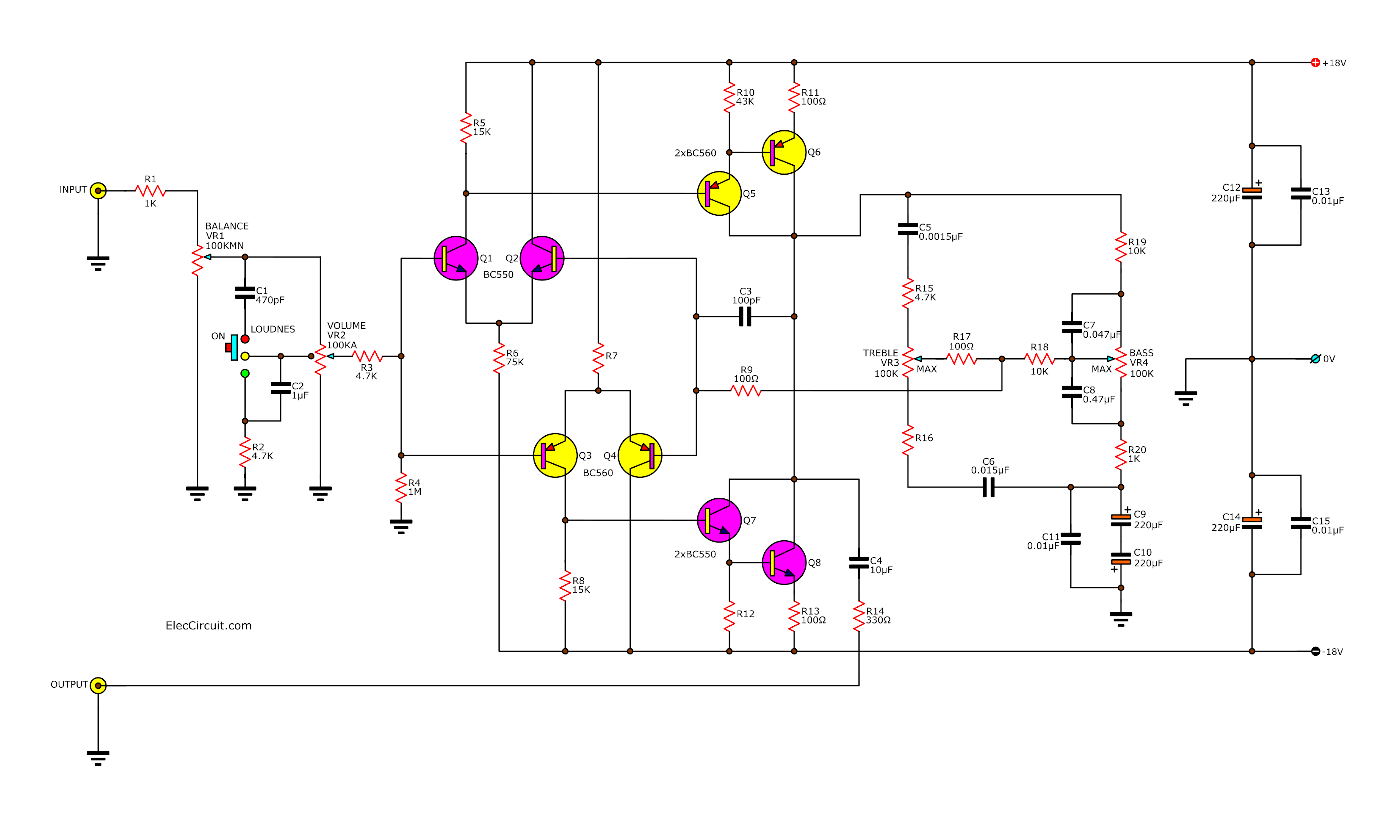 Hifi Preamplifier with tone control using low noise