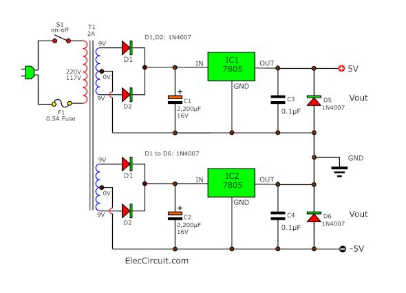 +5V and -5V Dual power supply using 7805