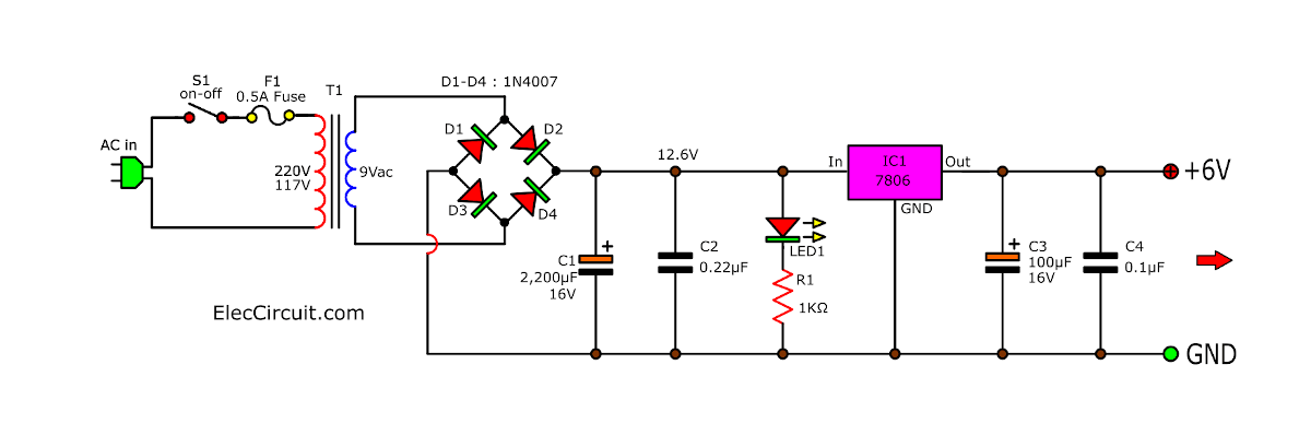 6V 1A Power Supply Circuit using IC-7806