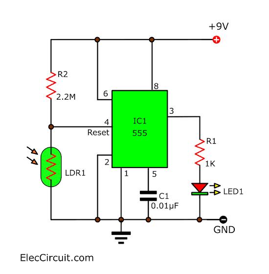 Basic dark activated led circuit using 555