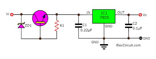 High input voltage for 7805 using transistor Zener diode