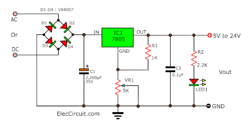 adjustable output voltage 5V to 24V using 7805