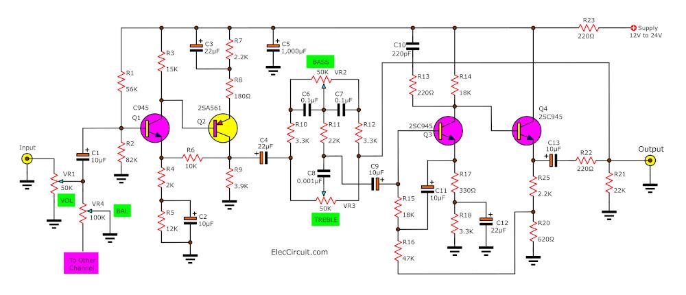 Low noise tone control circuit using C945